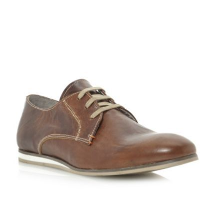 DUNE MENS Brown BRAILLE - White Wedge Leather Casual Lace Up Shoe | Dune Shoes Online
