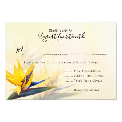 Bird of Paradise Hawaiian Wedding Menu Reply Cards - wedding invitations diy cyo special idea personalize card