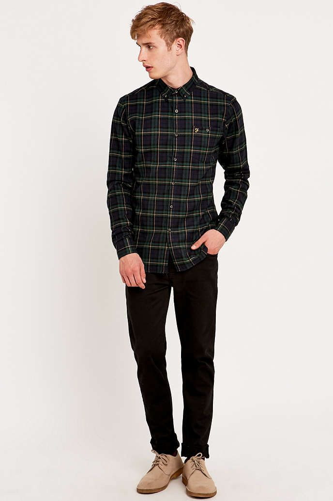 Farah Prince of Wales Navy Checked Shirt - Urban Outfitters