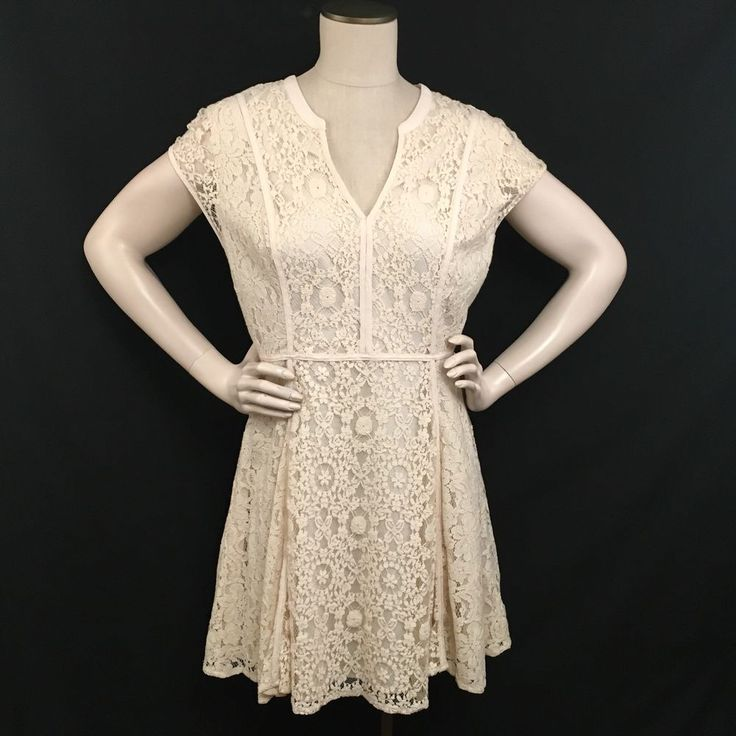 Lauren Conrad Beige Lace Dress Size 14 Lined Knee Length V-Neck #LaurenConrad