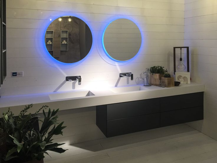 Sound collection from BMT Bagni with new countertop materials and colors, and backlit mirror with LED showing at Salon Del Mobile