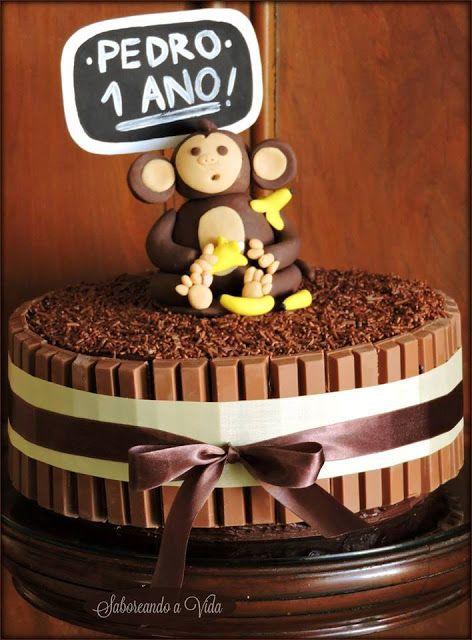 Bolo de aniversário - 1 ano (tema: macaco, animais etc) - Bolo de Festa saboreando a vida