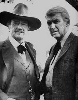 John Wayne and James Stewart in the last movie John Wayne made,  The Shootist....1976