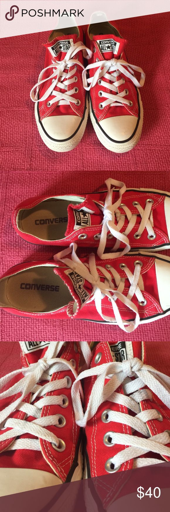 red converse almost perfect condition, a few flaws but can be taken care with a good wash. which I will do before shipping them! 😊 open to offers ❤️ NO TRADES Converse Shoes Sneakers
