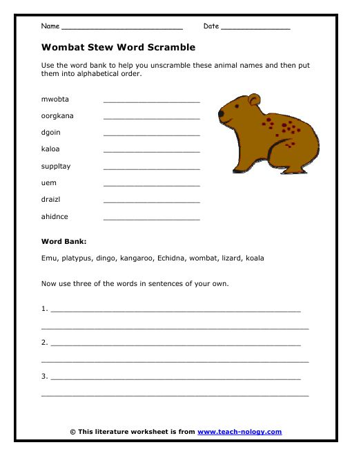 Worksheet unscramble words and create your own sentences Design a sustainable house lesson plan