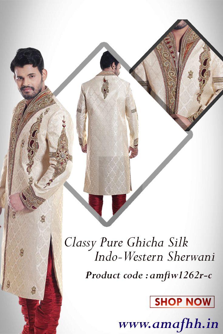 Golden beige shade pure ghicha #silk #sherwani is adorned with subtle foliage patterns. Beads, stones and zardosi #embellished patterns and motifs agglomerate the elegance. #weddingwear https://goo.gl/Rz14Tr