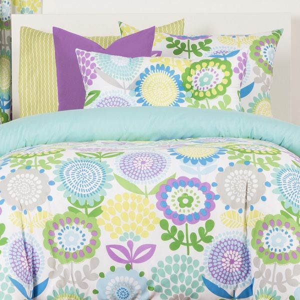 Crayola Bedding Pointillist Pansy Bed Cap Comforter Set With Sham Two Toss Pillows