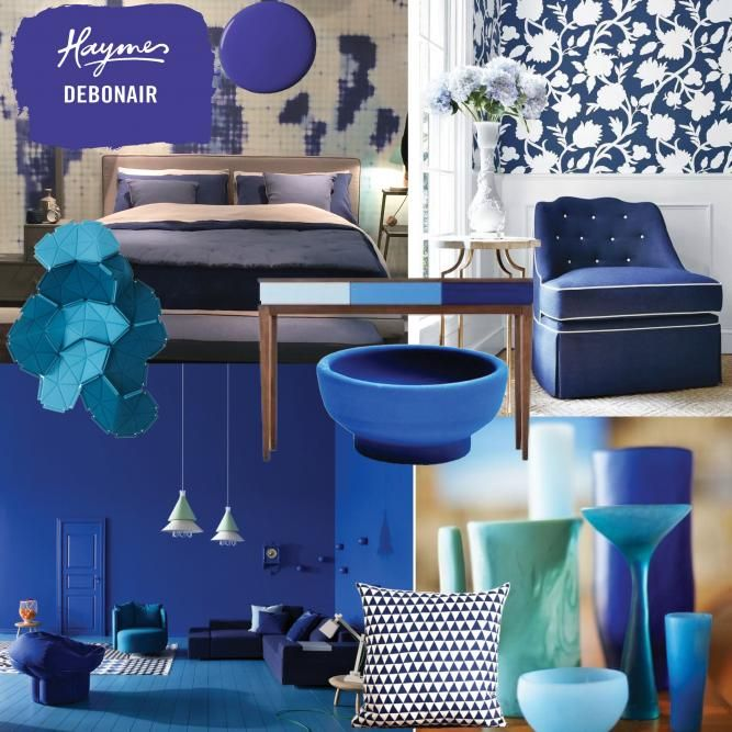 A vibrant blue, Haymes Debonair keeps the spirits up during winter. Calming aqua and indigo tones instantly give a space a relaxed and comfortable feel. Images from left to right: Maison Object Paris 2014, wallpaper & chair image from Elle Decor, Clouds Wall Feature by Ligne Roset from DOMO, blue living room image from Aponovich Architecture & Interior Design, blue desk from made.com, blue bowl from liefshop, pillow from etsy, glasswear from Dinosaur Designs.