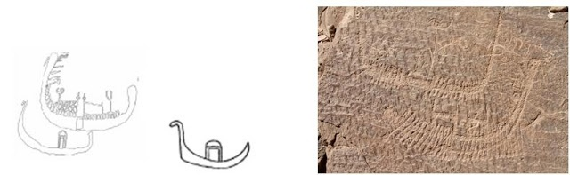 da uno schizzo del Sayce del 1890-99  Fig. Hamdulab 1, 2 e 3. Immagini da ANTIQUITY 86 (2012): 1068–1083, The earliest representations of royal power in Egypt: the rock drawings of Nag el-Hamdulab (Aswan), di S. Hendrickx, J. C. Darnell, M.C. Gatto