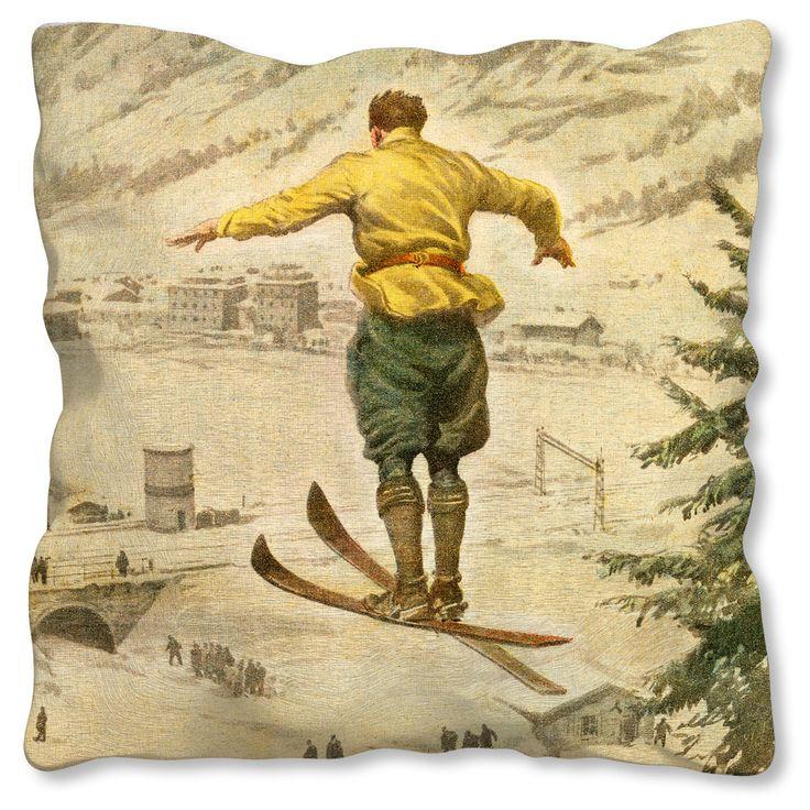 Italian Ski Jump Cushion from La Brocante