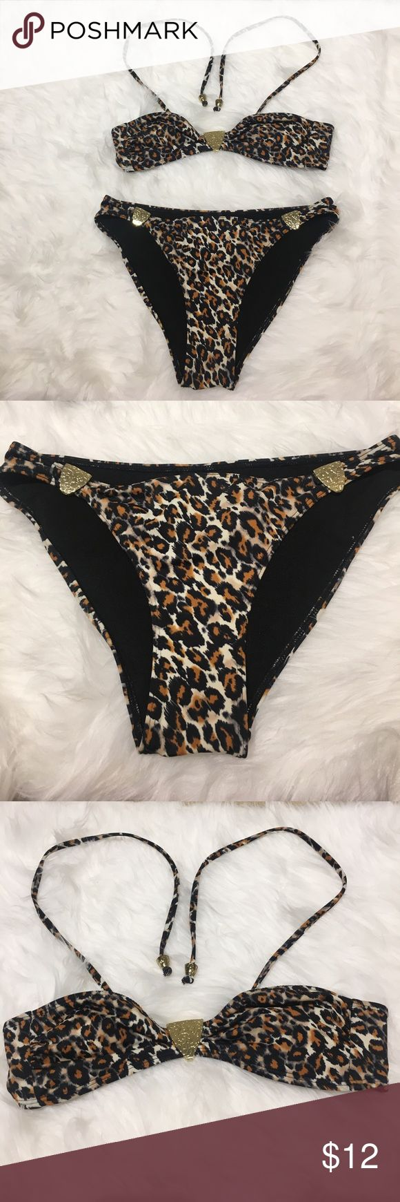 👙 Animal Print Two Piece Bikini Worn once. In good condition. Swim Bikinis