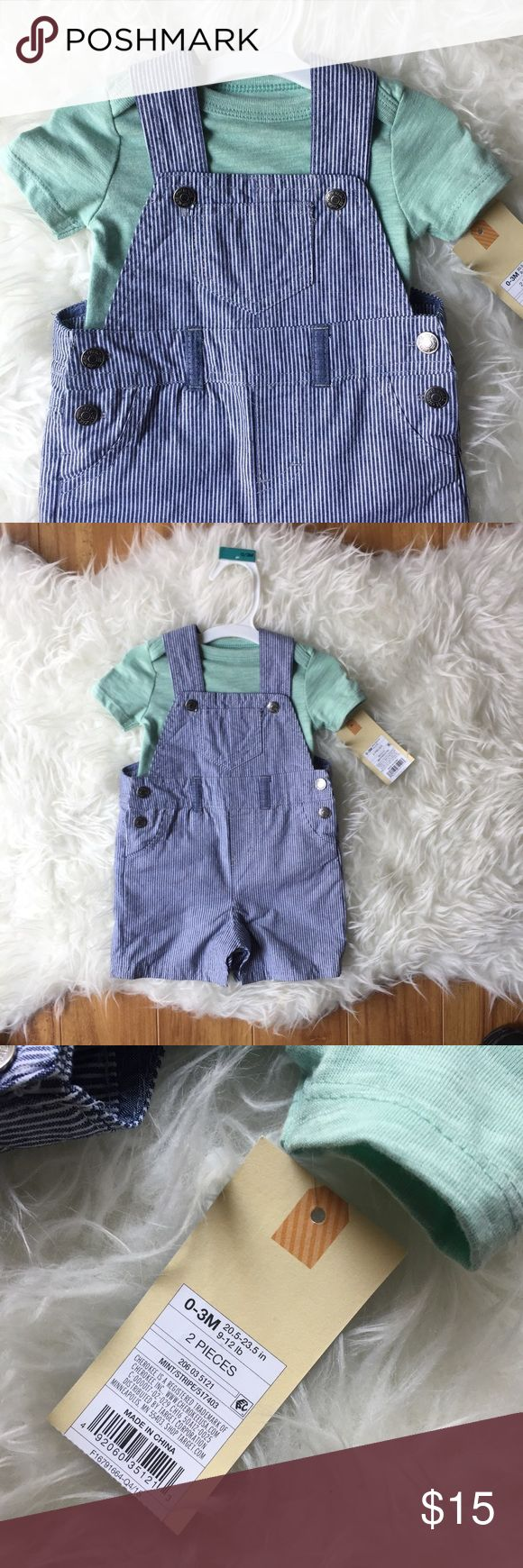 ⚡️Two Piece Striped Overalls and Tee Aqua soft tee and blue and white striped train conductor overalls by Cherokee. Brand New. So cute. Size 0-3mo.   〰Baby clothing prices are firm as singles, but bundled I can offer you more discount and you save on shipping! Win/win!〰 Cherokee Matching Sets