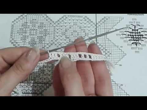 Топ крючком (филейное вязание). Часть 2. Вяжем образец 1-2 ряды.