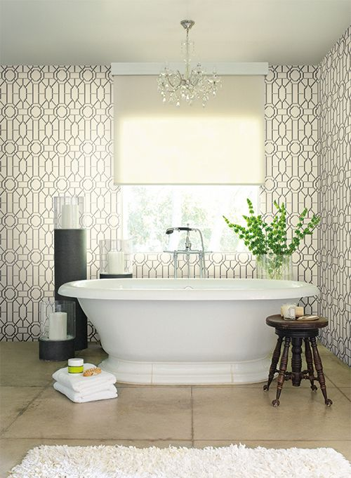 find this pin and more on pretty bathrooms - Designer Wallpaper For Bathrooms