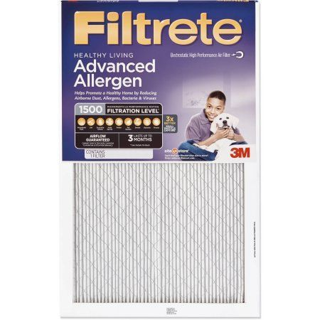 Filtrete Advanced Allergen Reduction Air and Furnace Filter, Available in Multiple Sizes, White