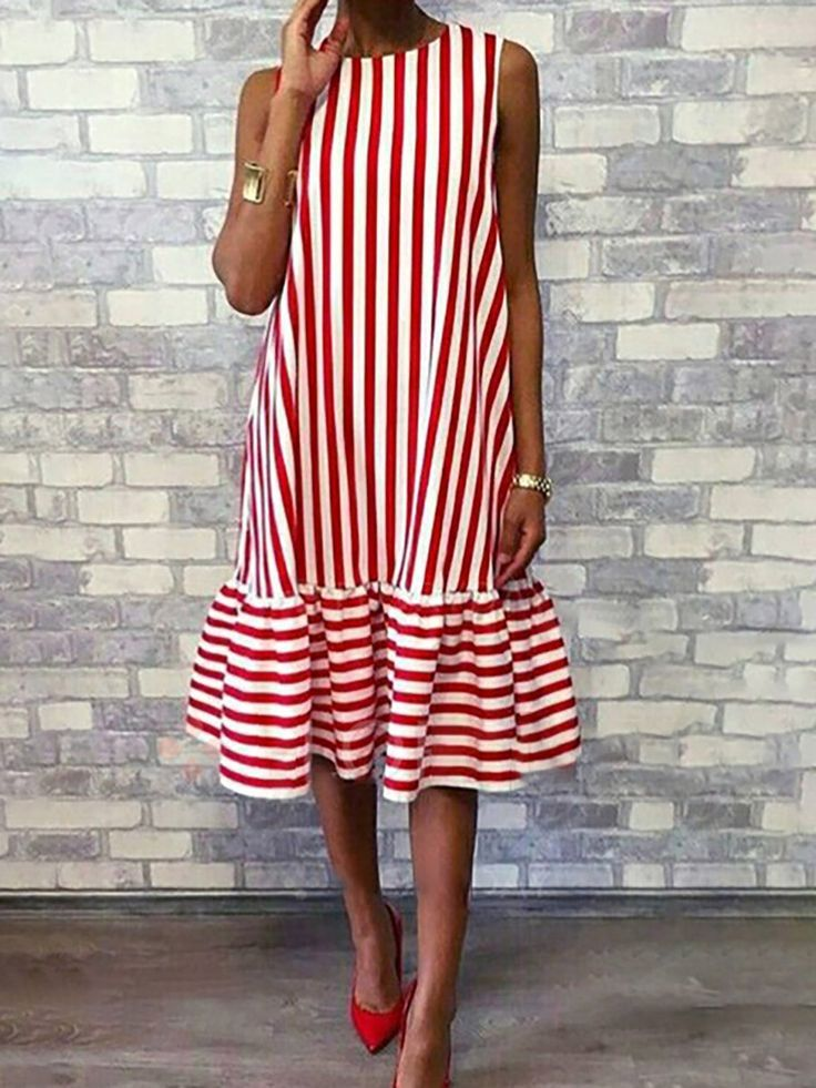 307d0f2593592a Crew Neck Red Women Summer Dress A-line Daily Basic Paneled Dress #dress  #date #holiday #vocation #daily #office #casualdress #longdress #summer  #stripe