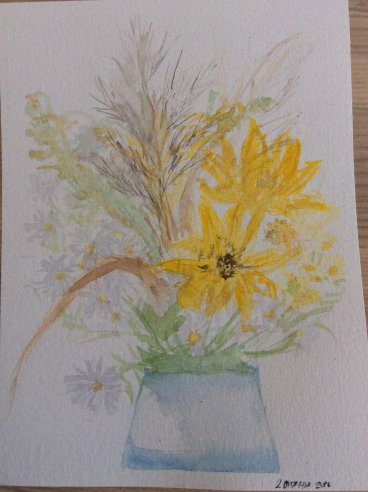 Autumn flowers. Watercolor.