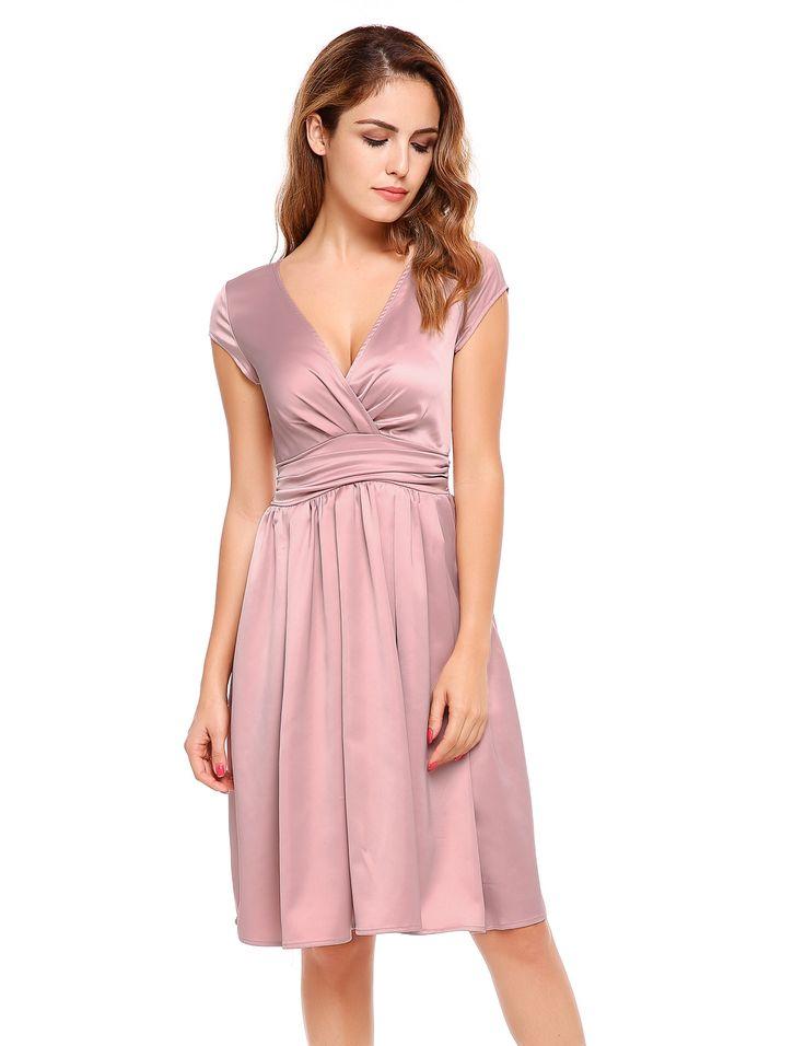 Pink Cap Sleeve Solid Elegant V Neck Party Swing Dress