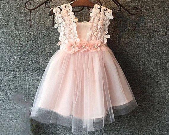 Baby Girls Pink Lace Tulle Dress / Flower girl Dress / Vintage Dress / Birthday