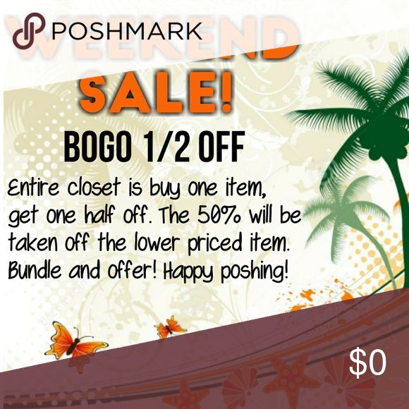 🛍BOGO 1/2 Off Sale🛍 TGIF, ladies! To celebrate, I'm having a BOGO sale. My entire closet is buy one item, get one half off. Just bundle the two items you want and make an offer. The lower priced item will be the one that the 50% comes off of, unless of course both items are priced the same amount. Want 4 items? You'll get 2 half off. Want 6 items? That means 3 are half off. Happy weekend and happy poshing!!! Other