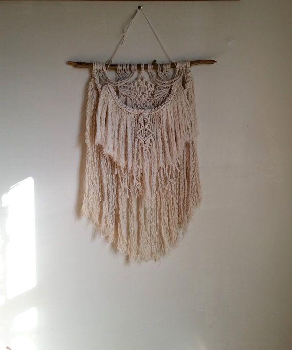 Macrame Wall Hanging / Knotted Fringe by WallHuggerHandmade