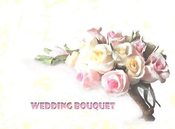 Bride bouquet Pastel Wedding bouquet Crepe paper by moniaflowers