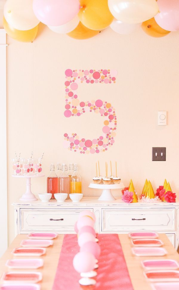 A bubbly themed party. The 5 is a super cute paper decoration instead of a banner. Could be a way to display a birthday banner.