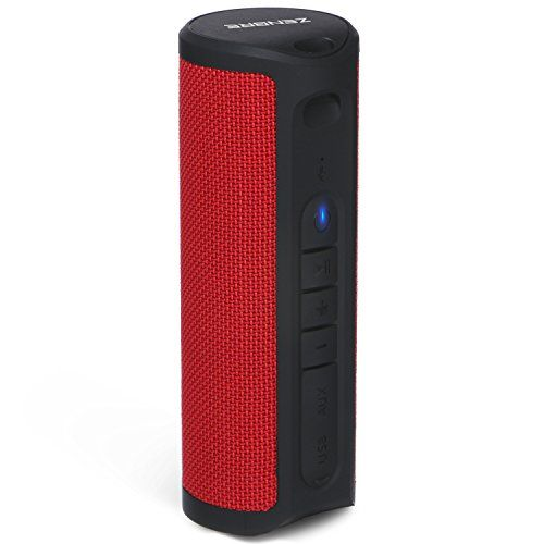 Bluetooth Speakers, ZENBRE Z4 True Wireless Stereo Waterproof IPX4 Speaker, Enhanced Bass with 2x5W Dual-Driver, Bluetooth 4.1 with 18h Play-time (Red)  【 2x5W, 2x2'' Speaker Units】There is integrated 2x5W amplifiers for each cylinder, combined with 2x2'' low frequency radiators, plus a subwoofer on each cylinder, it enhanced the sound quality not only on high, but also on mids and lows. It has two drivers along with a passive subwoofer, and the way the drivers are designed gives the s...