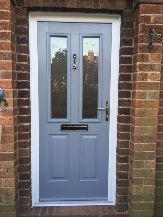 The Ludlow 2 Solidorltd Composite Door In French Grey With A Chrome Doctor Knocker Handle And Letterplate Installed Tollerton Nottingham