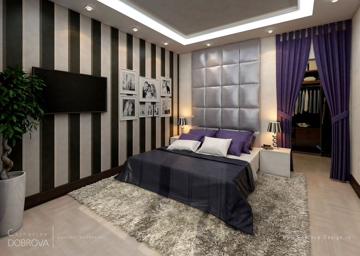 http://www.drissimm.com/wp-content/uploads/2015/07/cool-exotic-bedroom-decorating-ideas-in-modern-house-with-plant-beside-tv-wall-mounted-also-fur-rug-under-the-bed-plus-purple-curtain-and-striped-wall-paint.jpg