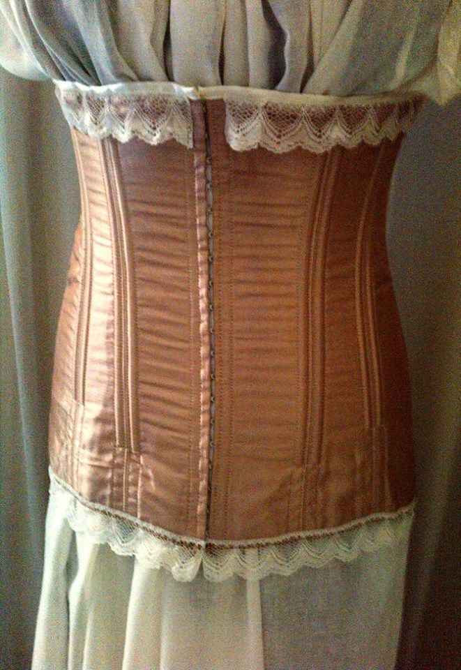 Honey Taffeta Long Line Corset with Ivory Lace Detail Hook & Eye Front Fastening Traditional Loop Lace up