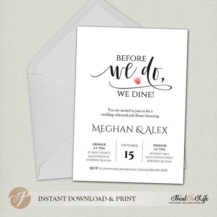 Rehearsal Dinner Invitation / Before we do, we dine! / Printable wedding template / 2 Editable templates 5x7 #PTL2_05_03 https://www.etsy.com/listing/550673371/rehearsal-dinner-invitation-before-we-do?utm_campaign=crowdfire&utm_content=crowdfire&utm_medium=social&utm_source=pinterest