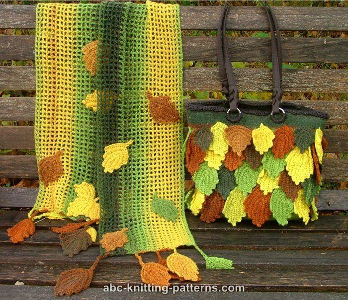 ABC Knitting Patterns - Fall Leaves Handbag