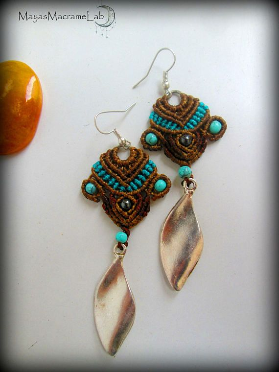 Jasmine  Bohemian Ethnic Chic Micro Macrame Earrings
