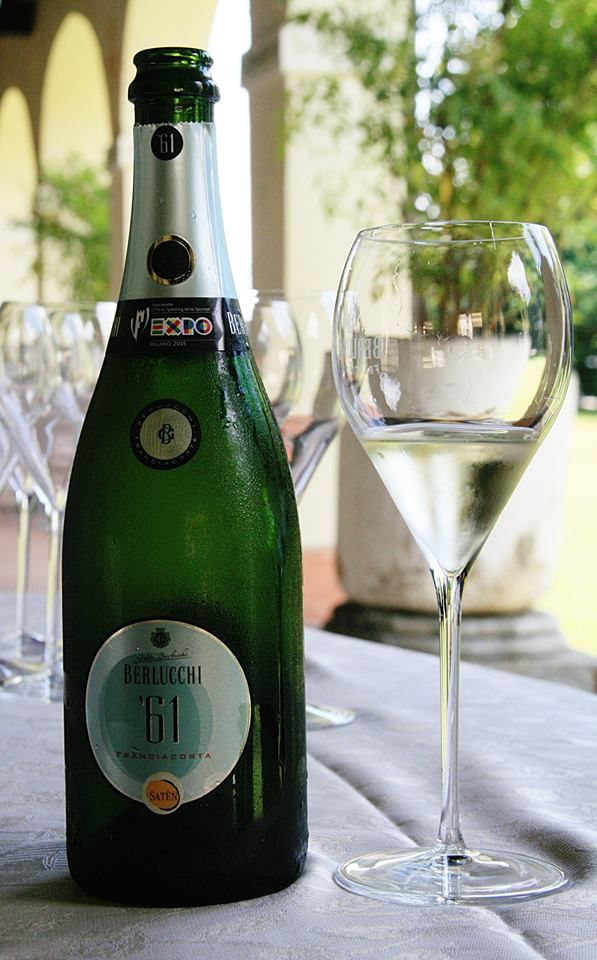 Tasting Berlucchi 61in the patio of Palazzo Lana, Berlucchi winery in Franciacorta, Italy
