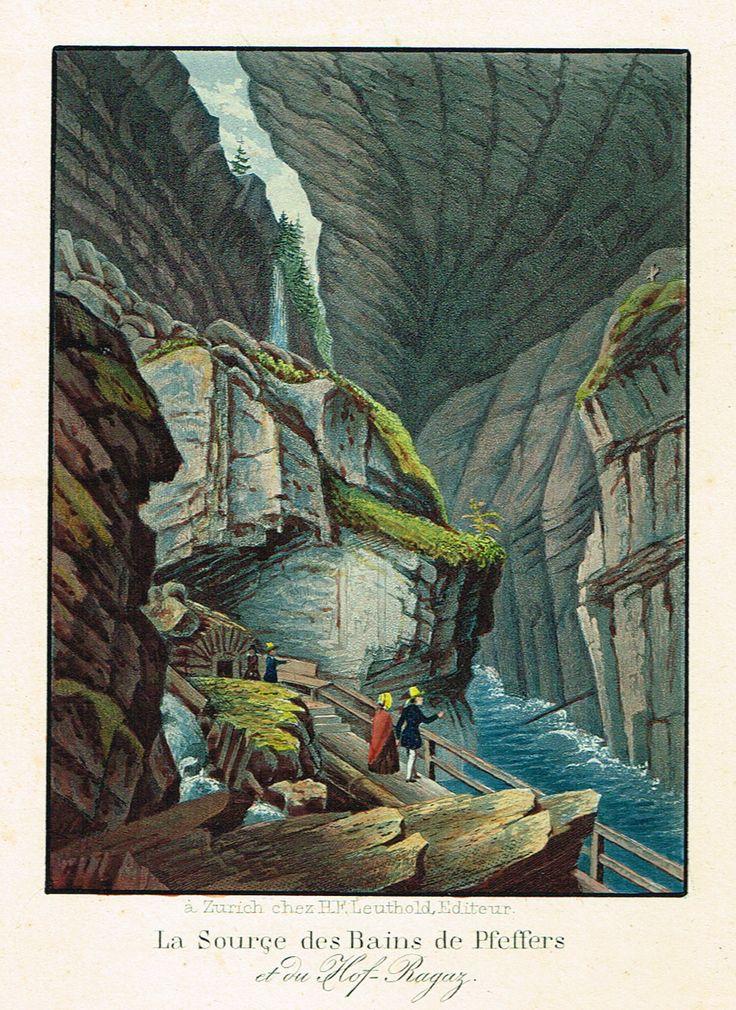 La Source des Bains de Pfeffers et du Hof-Ragaz - à Zurich chez H.F. Leuthold, Editeur - Aquatinte XIXe - MAS Estampes Anciennes - MAS Antique Prints
