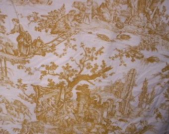 Vintage 1 yard white and gold FRENCH TOILE fabric