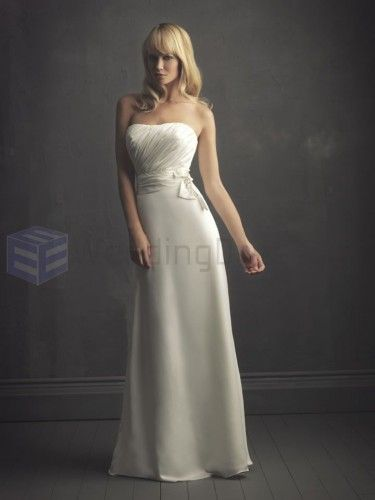 Column Satin Ruched Bodice Softly Curved Neckline Sweep Train Wedding Dresses