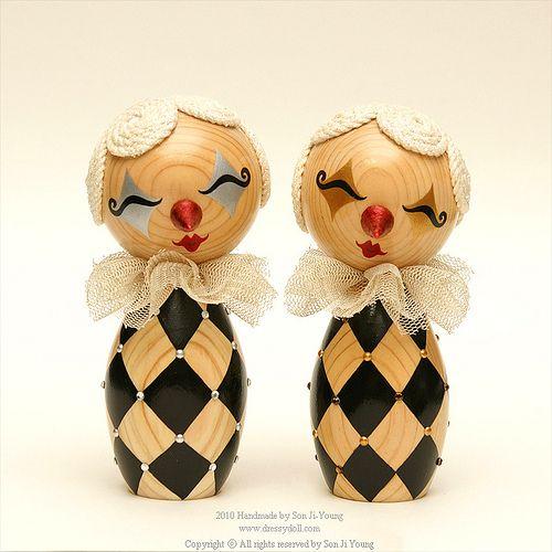 Dressy Wooden Dolls 'Pierrot Series'