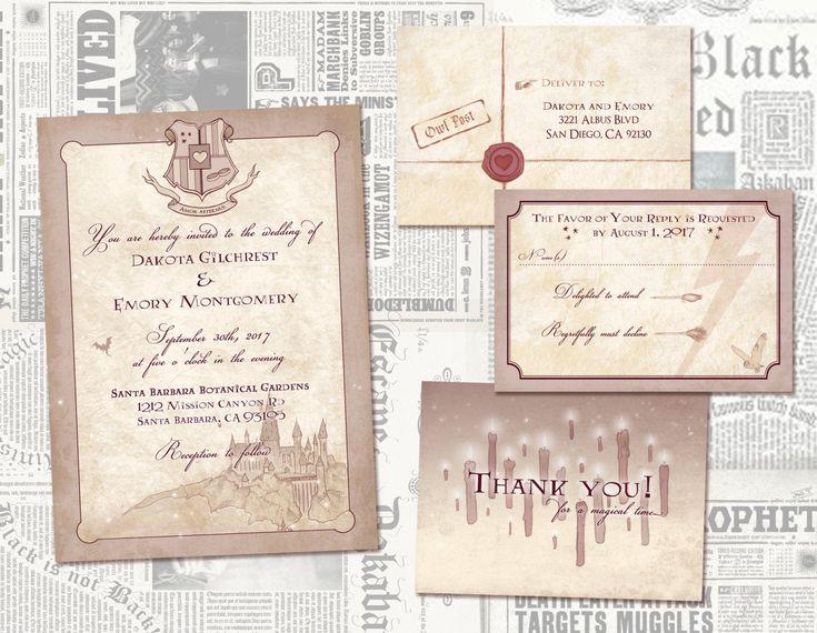 Wizarding Wedding Invitation Set // Digital Wedding Invites // Geeky Party Wedding //  Custom Weddin