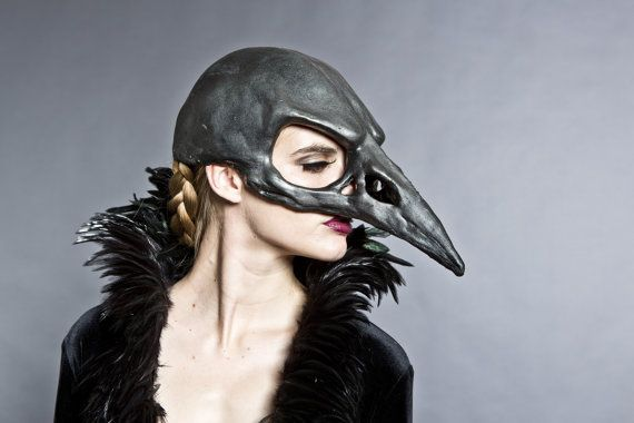 Bird skull mask in a black graphite finish $120