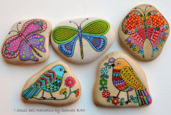 Hand Painted Stone Butterfly by ISassiDellAdriatico on Etsy
