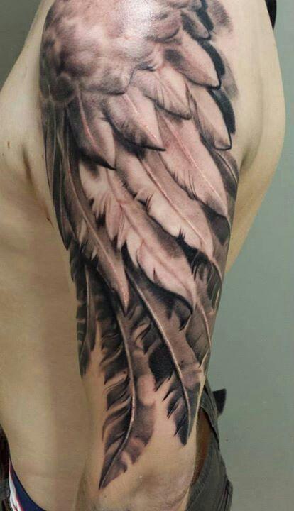 Realistic Wing Tattoo - http://www.tattooideas1.org/placement/arm/realistic-wing-tattoo/
