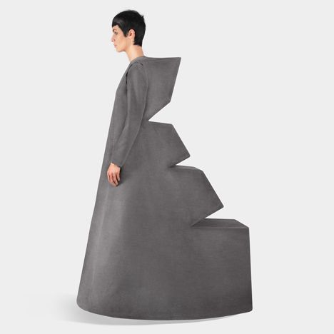Yuri Pardi incorporates geometric blocks into Monument graduate fashion collection.