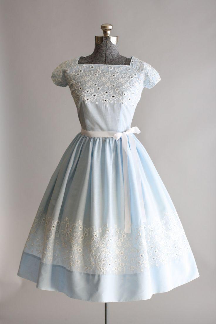 Vintage 1950s Dress 50s Cotton Dress Light Blue And White Vintage 1950s Dresses 1950s Dress Vintage Dresses [ 1104 x 736 Pixel ]