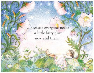 """5 Fairy Postcards, fairy dust, """"...because everyone needs a little fairy dust now and then."""". $5.00, via Etsy."""