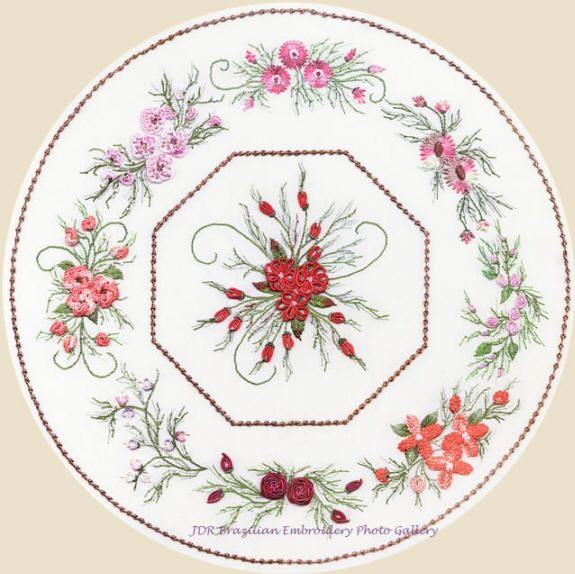 Free Brazilian Dimensional Embroidery Patterns | Brazilian Embroidery Design Nine Flower Octagon ED 1816