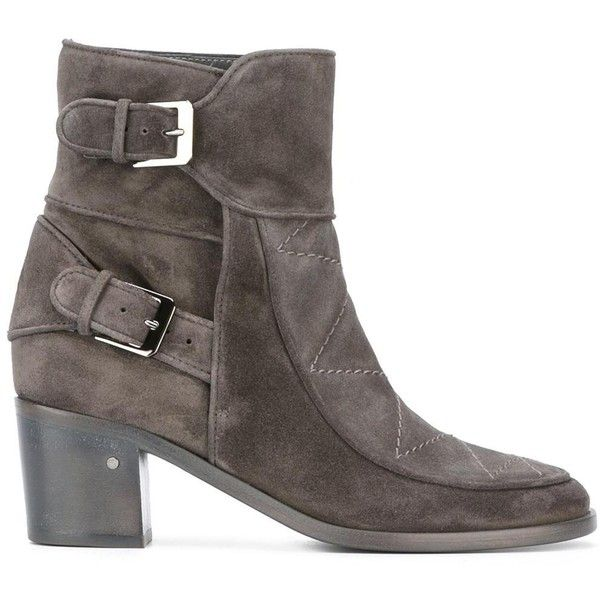 Laurence Dacade 'Gatsby' boots ($527) ❤ liked on Polyvore featuring shoes, boots, grey, laurence dacade, grey leather shoes, real leather shoes, real leather boots and gray leather boots