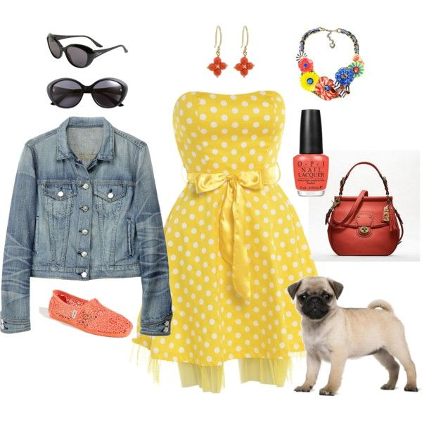 A Walk in the Park with Talulah, created by cherryfarmgirl on Polyvore: Bombshells Closet, Polka Dots Dresses, Dreams Closet, Jeans Jackets, Jean Jackets, Polyvore Th Pugs, Polka Dot Dresses, Dreams Wardrobes, Walks In