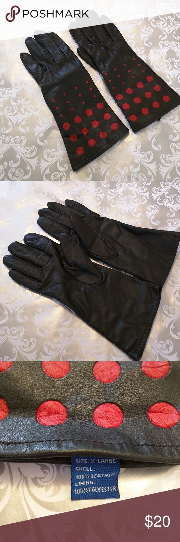 Driving gloves auckland - Black Leather Gloves With Red Polka Dots Size Xl Rarely Worn Excellent Condition Exterior Is